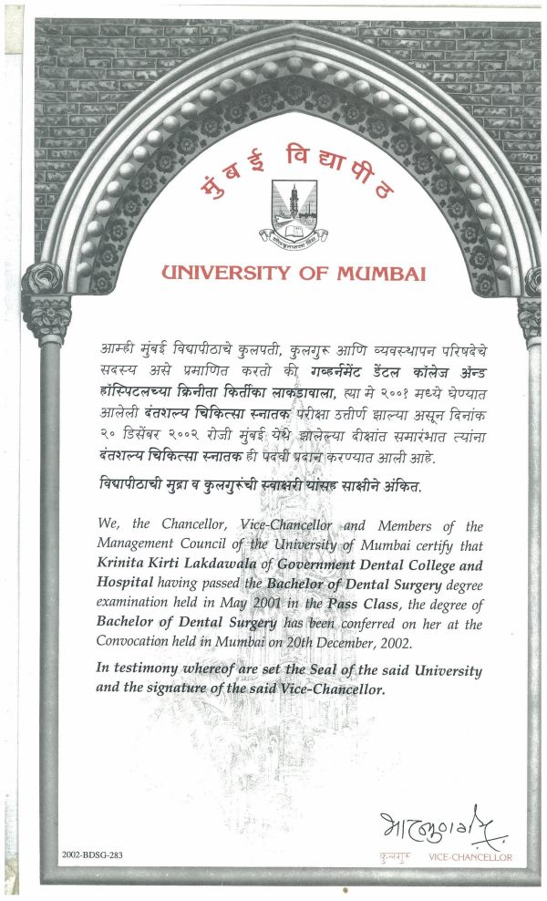 University of Mumbai Certificate